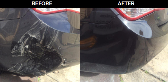 pushed in bumper repaired before and after