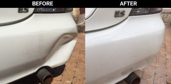Bumper dent before after