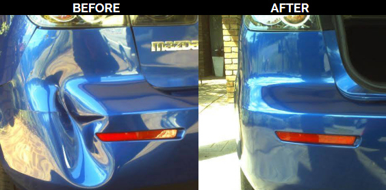 mazda pushin dent before and after